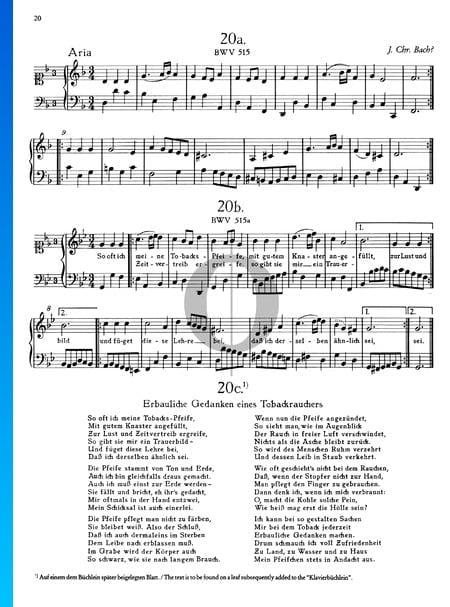 Aria: So oft ich meine Tabackspfeife, BWV 515 Sheet Music
