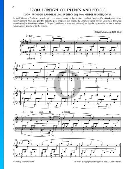 Scènes d'enfants, Op. 15 No. 1: Gens et pays étrangers Partition