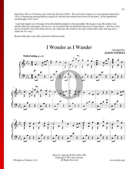 I Wonder As I Wander Sheet Music